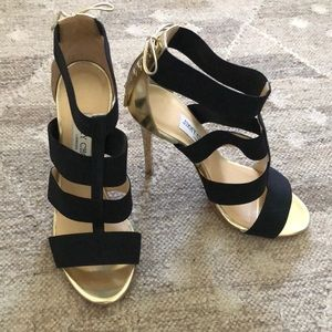 Jimmy Choo Dario gold and black strappy heels
